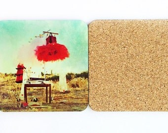20% Off Sale Ready to Ship Red Tutu Photography Coasters, Wood Cork Set of Four Coasters, Square Coasters, Ballet, Red Tutu
