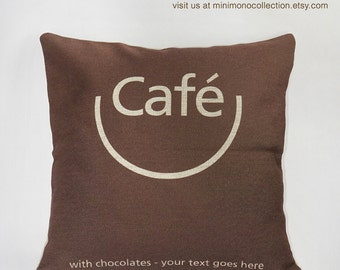 "Smiling Cafe in A Cup Linen Cotton Pillow Cover - Throw Pillow - Must Have for Coffee Lovers - 17"" x 17"""