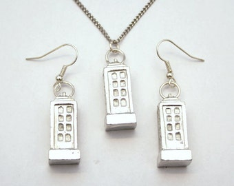 British Police Box (Tardis) Necklace and Earrings Set, Fine English Pewter (R)