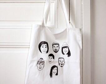 Friends faces print cotton tote bag