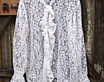 Ivory Lace Top Sheer - Lovely Ruffled Sleeves - Romantic Shabby Chic Top - Beautiful Clothing by CrazyGirlsClothing