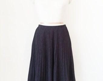 Japanese Vintage Skirt / Black Polka Dot Skirt / Black Pleated Skirt / Ruffle Skirt / High Waist Skirt / Secretary Skirt / Size S M