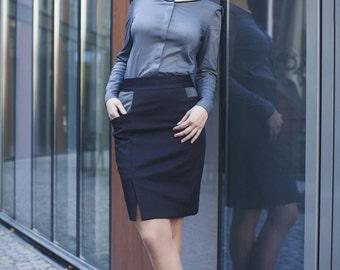 Dark grey cotton blouse / business casual / office shirt / elegant shirt / anthracite shirt