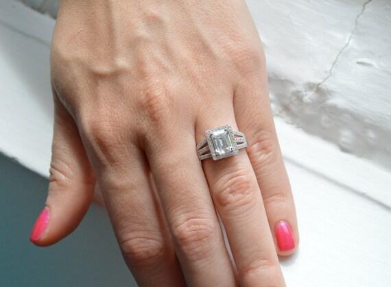 Emerald Cut Engagement Ring Prong Set Engagement Ring
