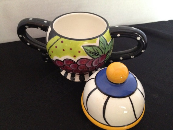 Whimsical Sugar Bowl Abstract Colorful Serving Piece Art Pottery