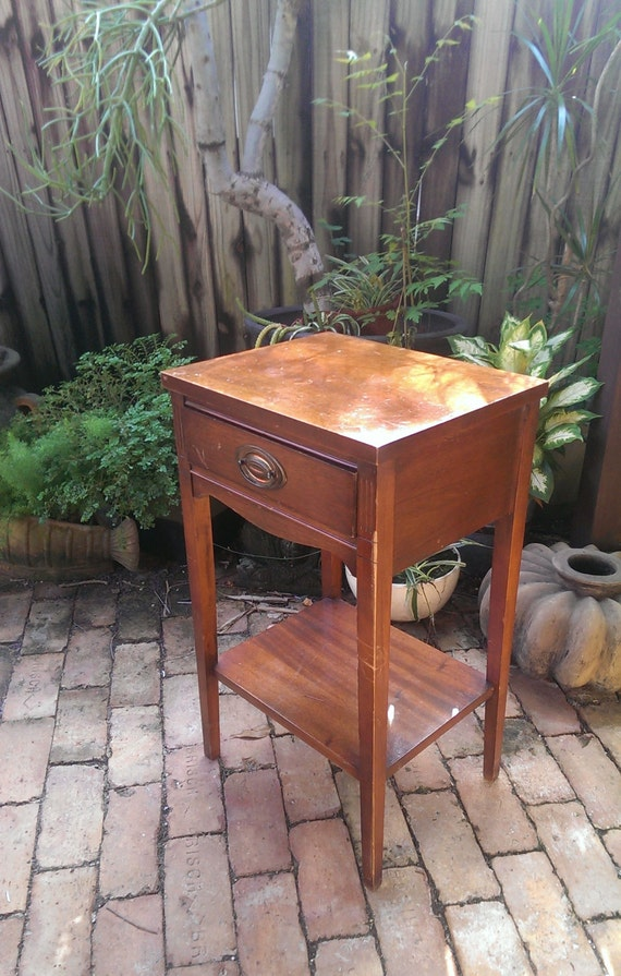 Vintage Mahogany Federal Style Nightstand By Dixie Furniture