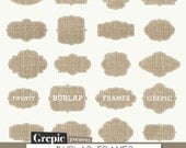 "Burlap frames clipart: ""BURLAP FRAMES"" clipart pack with burlap labels for linen / burlap style scrapbooking, card making, invites - Grepic"