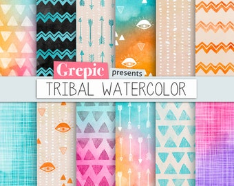 """Tribal digital paper: """"TRIBAL WATERCOLOR"""" with playful hand drawn tribal patterns in watercolor purple, pink, yellow, arrows, triangles"""