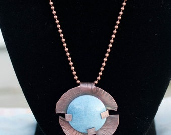 Enameled dome disk pendant necklace