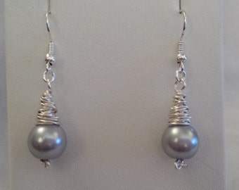 Silver Pearl & Silver Wire Wrapped Earrings