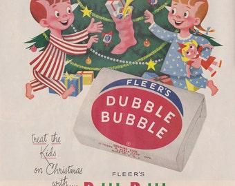Vintage 1950s Dubble Bubble Christmas chewing gum ad