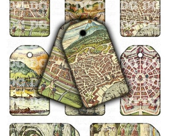 Printable Travel tags, Ancient Maps, Hang tags for gifts, scrapbooking, jewelry holders, Digital Collage Sheet, Instant Download