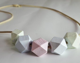 Pastel Geometric Wooden Bead Necklace // Handmade with suede and adjustable