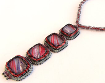 Dramatic Purple, Red, and Grey Marblized Glass Cabochons Pendant