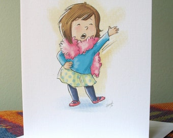 Dance - Sing note card with envelope / blank inside / cute girl with feather boa / by Kathe Keough