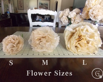 1 Single Medium Vintage Dress Pattern Tissue Paper Flowers