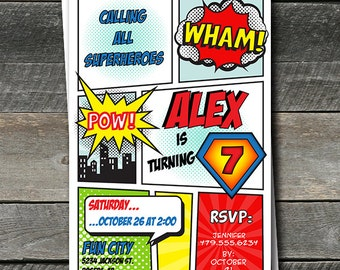 Superhero Invitation. Super hero Invitation. Superhero Party. Superhero Birthday Invitation. DIY Printable OR Printed Invitations