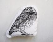 cute owl throw pillow black and white stuffed plush little cushion woodland home decor hand drawn realistic