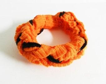 SALE - Fabric Bracelet, Orange and Black, Cloth Jewelry, Woven Bracelet, Jersey Knit, Halloween, Autumn