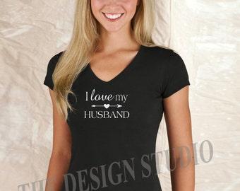 I Love my Husband T-shirt, Valentines Day Gift,  Just Married T-shirt, Bride T-shirt, Honeymoon or Anniversary V-neck Ladies T-Shirt