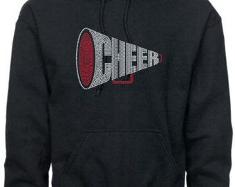 Cheer Hoodie/ Cheer Sweatshirt/ Cheer Clothing/ Cheer Gift/ Cheer/ Rhinestone Cheer Megaphone Cheerleading Cheer Hoodie Sweatshirt