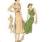 One Piece Dress, Frock Sewing Pattern Original Vogue 7524 Circa 1930 Size 14 Bust 32