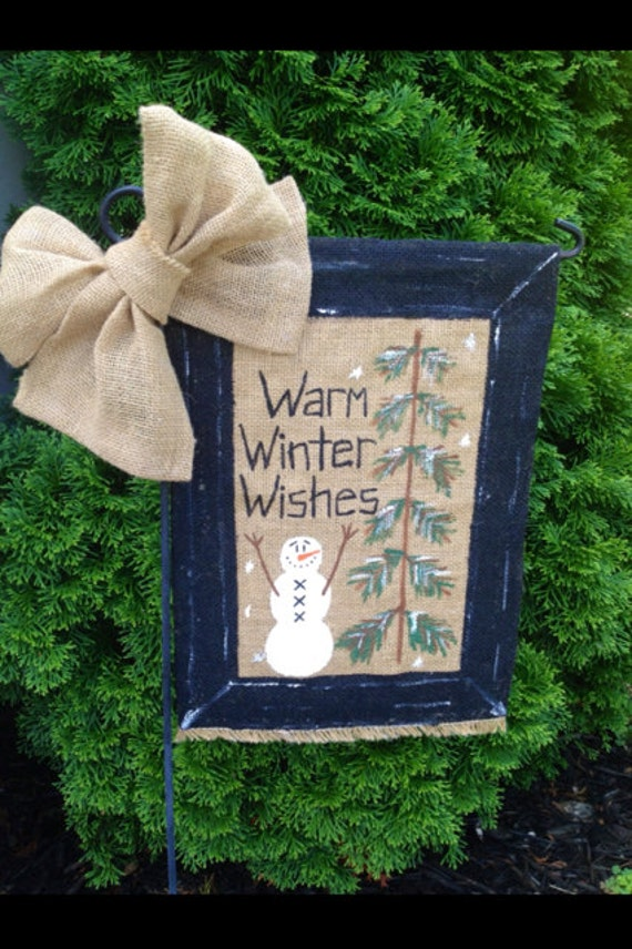 Sale 20 off warm winter wishes snowman burlap garden flag for Snowman made out of burlap