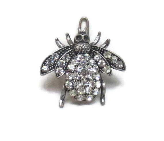 Bumble Bee Jeweled Hair Barrette Clip Silver Bee Clip White Body