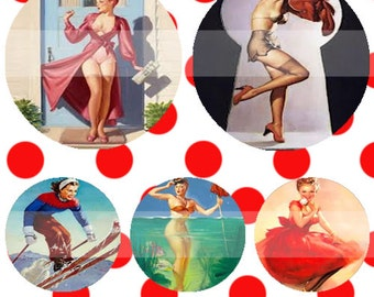 Pinup Girls (052) Digital Collage Sheet 4x6 bottle cap images .. Bottlecap glass tiles ..
