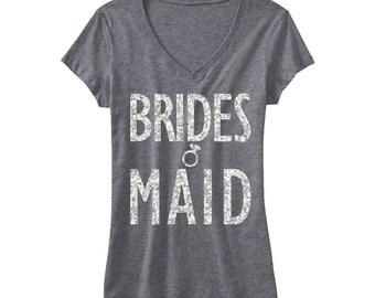 BRIDESMAID GLITTER Shirt Gray V-neck, Bridesmaid Vneck, Wedding shirt, Bridesmaid shirt, wedding