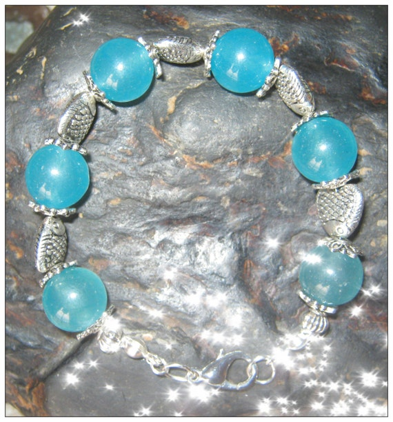 Handmade Silver Bracelet with Blue Topaz & Fish Hearts by IreneDesign2011