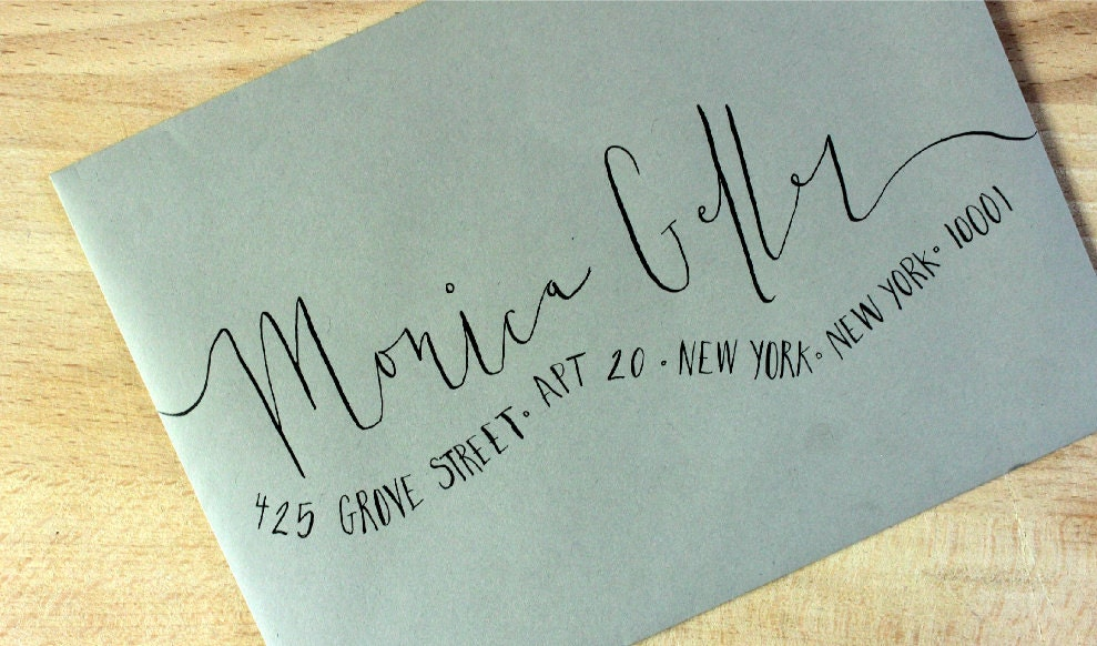 Handwritten Wedding Invitation Envelopes Wavy Calligraphy
