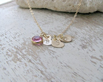 Personalized Heart Necklace 14k Gold Filled Initial Necklace Heart Jewelry Heart Hand stamped Hearts Swarovski Birthstone Necklace Gift