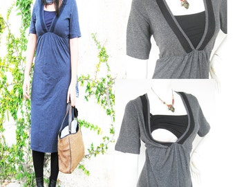 LACEY Maternity Dress / Nursing Dress Breastfeeding / Nursing Clothes / NEW Maternity Dresses / GREY / Maternity Clothes