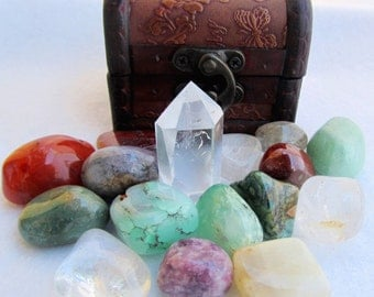 Choose Your Crystals Healing Crystal Set, Gemstones, Rose Quartz, Serpentine, Amethyst, Clear Quartz Point, Botswana Agate, Citrine