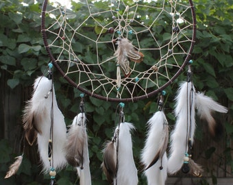 Chocolate & Turquoise Dreamcatcher, Native American, Handmade (Large)