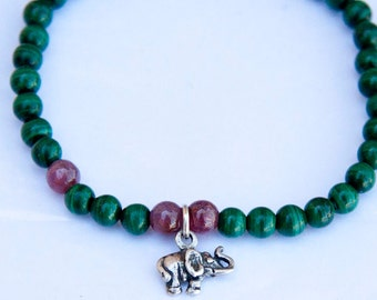 Elephant Dreams Stackables Bracelet - malachite, ruby and sterling silver