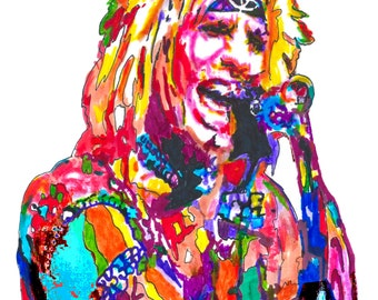 """Vince Neil of Mötley Crüe: POSTER from Original Drawing 18"""" x 24"""" Signed & Dated by Artist w/COA 2"""