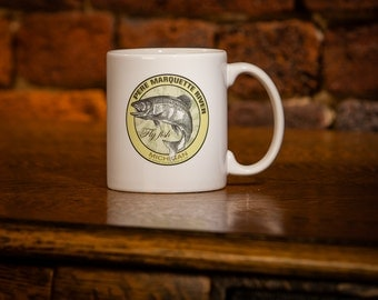 Pere Marquette River Fly Fishing Michigan Coffee Mug 11 oz white ceramic - Fly Fishing Gift -