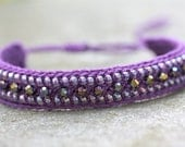 DISCO BALL sparkling purple beaded crochet friendship bracelet