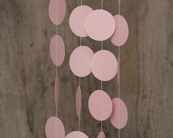 Paper garland bunting, wedding garland decor, circle garland, party home decor, nursery banner, nursery garland, photo backdrops pastel pink