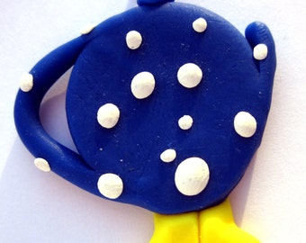 Blue Polymer Clay Teapot with Feet Pendant/Charm, Blue Teapot, Teapot Jewellery, Tea Jewellery, Blue Jewellery, Clay Teapot, Tea Jewelry
