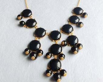 27mm GOLD BIGbubblesmooth Necklace - Hot Popular / Black smooth bubble necklace, chunky statement necklace, bridal bridesmaid party necklace