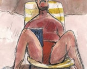 Man Reclining on the Beach - Original Watercolor