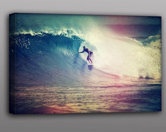 Surf Photography Big 24x36 Canvas Print Surfing the Wave Photo - Free Shipping