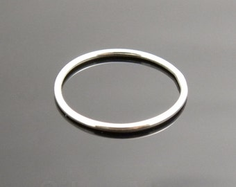 Thin and Simple Argentium Silver Smooth Stacking Ring (18 gauge)