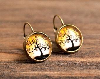 Lovely tree earrings, yellow earrings, yellow dangle earrings, brass earrings, glass dome earrings, picture earrings, autumn tree earrings