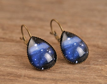 Milky way earrings, galaxy earrings, tear drop earrings, dangle earrings, antique brass earrings, celestial earrings, glass dome earrings