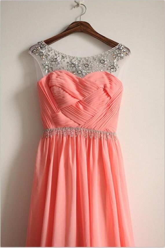 Coral Pink Chiffon Simple Wedding Dress/Bridesmaid by ...
