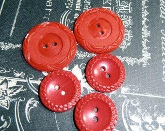 Red Buttons, Vintage Buttons, Antique Buttons, Unique Buttons,Plastic, Design, set of 5